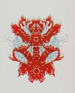 hybrid lily beetle (red)screenprint 2012