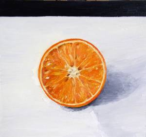 oil painting of half an orange